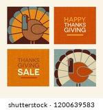 happy thanksgiving flat... | Shutterstock .eps vector #1200639583