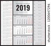 2019 quarterly wall calendar... | Shutterstock .eps vector #1200647296