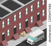 isometric 3d city delivery van. ... | Shutterstock .eps vector #1200647686