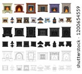 different kinds of fireplaces... | Shutterstock .eps vector #1200654559