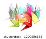 colorful origami birds isolated ...   Shutterstock . vector #1200656896