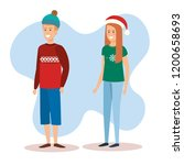 couple with december clothes | Shutterstock .eps vector #1200658693