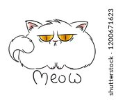 meow. angry furry cartoon cat.... | Shutterstock . vector #1200671623