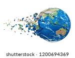 shattering earth globe 3d... | Shutterstock . vector #1200694369