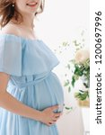 pregnant woman in dress holds... | Shutterstock . vector #1200697996