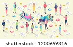 isometric concept with mobile... | Shutterstock .eps vector #1200699316