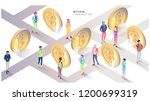 isometric concept with bitcoins ... | Shutterstock .eps vector #1200699319