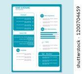 modern cv resume template vector | Shutterstock .eps vector #1200704659