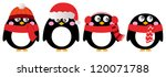 Cute Penguin Set Isolated On...