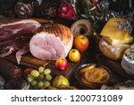 honey roasted ham food...   Shutterstock . vector #1200731089