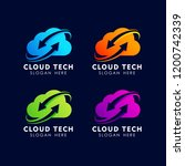 sync cloud tech logo design... | Shutterstock .eps vector #1200742339