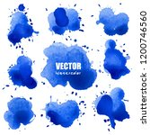 set of splash blue watercolor ... | Shutterstock .eps vector #1200746560