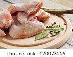 Fresh Raw Chicken On Wooden...