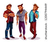 vector cartoon arab hipsters  ... | Shutterstock .eps vector #1200794449