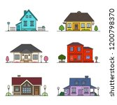 set of 6 colored houses on... | Shutterstock .eps vector #1200798370