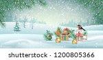 vector christmas winter... | Shutterstock .eps vector #1200805366
