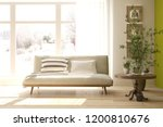 white room with sofa and winter ... | Shutterstock . vector #1200810676