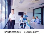 group of happy young  business... | Shutterstock . vector #120081394