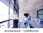 business woman  with her staff  ... | Shutterstock . vector #120081424