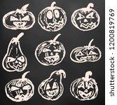 halloween. a set of festive... | Shutterstock .eps vector #1200819769