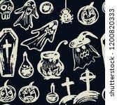 halloween. seamless pattern.... | Shutterstock .eps vector #1200820333
