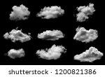 white cloud isolated on a black ... | Shutterstock . vector #1200821386