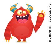 cartoon monster waving. vector... | Shutterstock .eps vector #1200823846