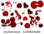 hand drawn set of red ink spots ...   Shutterstock .eps vector #1200824680