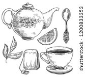 hand drawn tea set  pot with... | Shutterstock .eps vector #1200833353