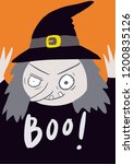 boo  the creepy big eyes witch...   Shutterstock .eps vector #1200835126