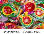 colorful hand made diya mainly... | Shutterstock . vector #1200835423