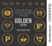 hotel icons vector pack golden... | Shutterstock .eps vector #1200836956