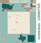 detailed map of dickens county... | Shutterstock .eps vector #1200837529