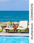 bikini woman sexy in pool... | Shutterstock . vector #1200840256