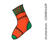 doodle color christmas sock... | Shutterstock .eps vector #1200841639