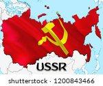 flag map of ussr. 3d rendering... | Shutterstock . vector #1200843466