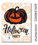 halloween card.invitation card... | Shutterstock .eps vector #1200847609