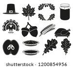 13 black and white thanksgiving ... | Shutterstock .eps vector #1200854956