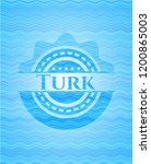 turk sky blue water wave emblem. | Shutterstock .eps vector #1200865003