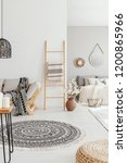 pouf and round rug in bright... | Shutterstock . vector #1200865966