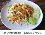 thai noodle soup with shrimp... | Shutterstock . vector #1200867970