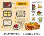 recipe lasagne. step by step... | Shutterstock .eps vector #1200891763