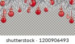 christmas card with red baubles ... | Shutterstock .eps vector #1200906493
