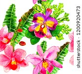 exotic flowers and leaves in... | Shutterstock . vector #1200920473