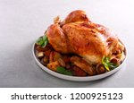 roast chicken with roast... | Shutterstock . vector #1200925123