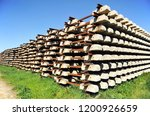 railroad concrete sleepers... | Shutterstock . vector #1200926659