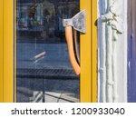 door handle made of an ax.... | Shutterstock . vector #1200933040
