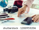 the young girl tourist planning ... | Shutterstock . vector #1200953206