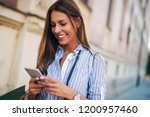 beautiful tourist woman with... | Shutterstock . vector #1200957460