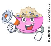 with megaphone character a bowl ... | Shutterstock .eps vector #1200969376